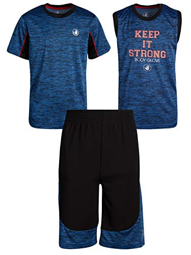 Body Glove Boys 3-Piece Performance Athletic Short Set, Blue/Black, Size 7'