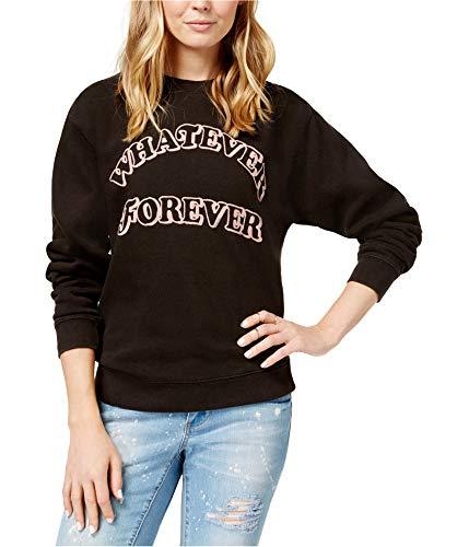 - Junk Food Womens Whatever Forever Graphic Crewneck Sweatshirt, Crew Black M/L
