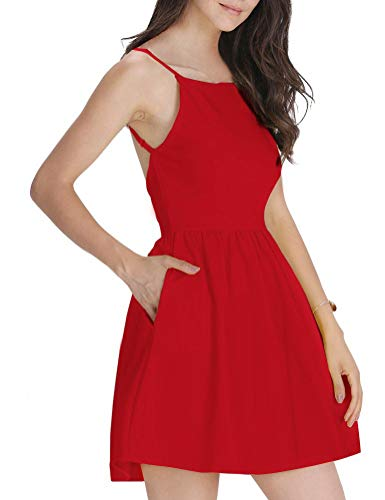 FANCYINN Women's Red Short Dress Spaghetti Strap Backless Mini Skate Dress Red M ()