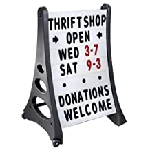 24 x 36 QLA Outdoor Plastic Rolling Sidewalk Curb Sign A Frame Sign with Quick-Load Changeable Message Board and Letters, White by Metropolitan Display