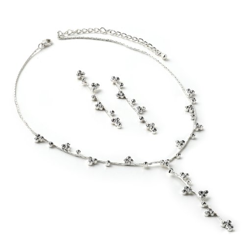 Topwholesalejewel Silver T Neck Twist Chain with Crystal Stones in 3 Point Triangle Formation Necklace and Matching Dangle Earrings Jewelry Set