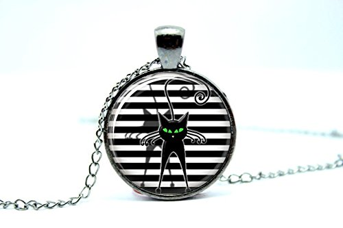 - Pretty Lee 2015 Fashion Gun Black Black Cat Black Necklace Black Jewelry Glass Tile Jewelry Glass Art Pendant Glass Photo Cabochon Necklace Christmas gift
