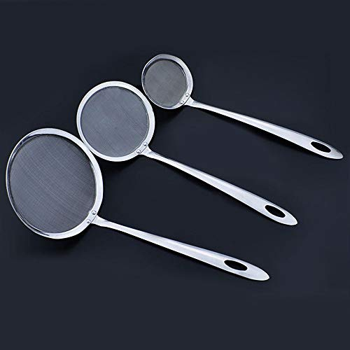 EORTA Set of 3 Stainless Steel Skimmer Spoon Cooking Oil Sieve Colander Scoop Fine Mesh Wire Filter Strainer with Long Handle for Fat Grease/Foam, Stews Soup, Hotpot, Frying, Blanching Vegetables ()