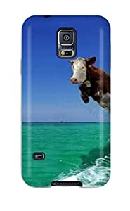 New Premium GIELHfe1727dcOmi Case Cover For Galaxy S5/ Funny Flying Cow And Dolphin Protective Case Cover