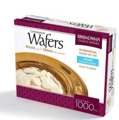 Broadman Church Communion White Wafers - Cross Design (1 - 1/8'') - Box of 1000 (10 Individual Packs of 100 Lord's Supper Wafers) by B & H Publishing Group