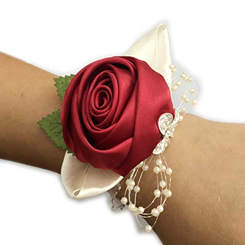 Prom Corsage Wedding Bridal Wrist Corsage Bridesmaid Wrist Flower Corsage Flowers for Wedding Wine Red (1 PC)