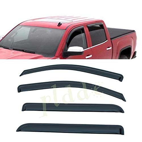 - PLDDE 4 pcs For 14-18 Silverado/Sierra Crew Cab Front+Rear Sun/Rain Guard Outside Mount Window Visors