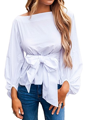 Couleur Unie Col Chemisiers Blouse Haut Sexy Bowknot Manchon Shirts Lanterne Et Bandage Tops Bateau JackenLOVE Fashion Femme Blanc wPXqnAI