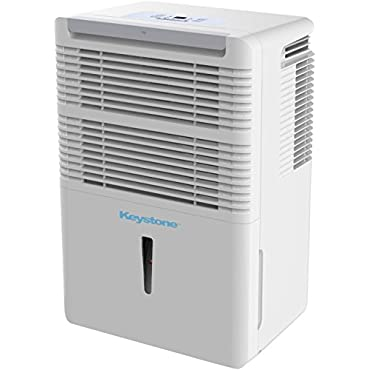 Keystone KSTAD70C Energy Star 70-Pint Portable Dehumidifier for 4500 Sq. Ft. with 12.8-Pint Bucket Capacity and Full Bucket Alert, White