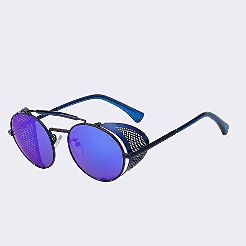 metal UV400 w Mujer gafas Retro negro mirror TIANLIANG04 de de W de blue plata de de moda sol Blue gafas Vintage Hombre gafas Hombre sol lujo zgEqU