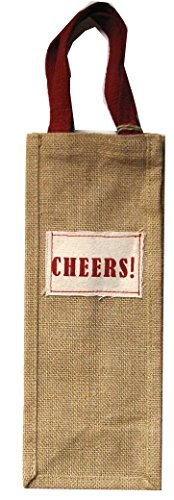 Wine Bottle Party Gift Bag, Cotton Jute Burlap Cloth for Occasion, Birthday, Christmas, Holiday, New Years, Gift Bags for Men, Women (CHEERS!)