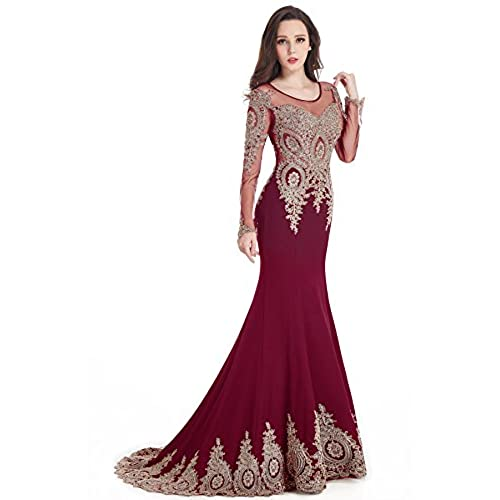 MisShow 2016 Crew Neck Mermaid Burgundy Lace Applique Evening Prom Dress Long Sleeves