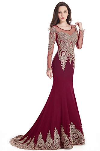 Women's Rhinestones Embroidery Lace Long Mermaid Formal Evening Prom Dresses Burgundy