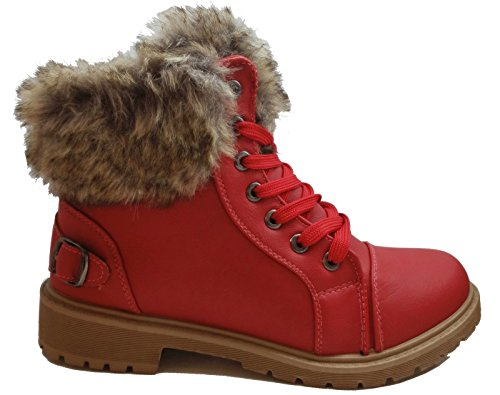Size Winter Fur Flat Red Boots Sole Grip Lined Ladies Shoes Combat Army Ankle Womens zwgd7z