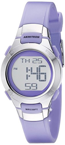 (Armitron Sport Women's 45/7012PRSV Purple and Silver-Tone Digital Watch)