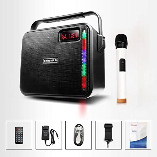 Shinco Bluetooth Karaoke Machine PA Speaker System with Wireless Microphone for Party, Meeting