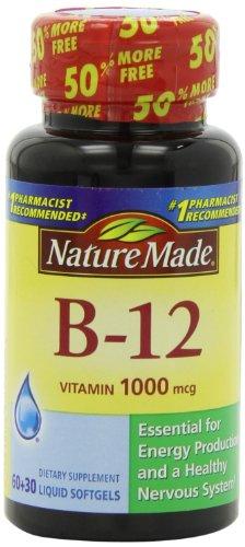 Природа Сделано Витамин B-12 Таблетки, 1000 мкг, 90 граф