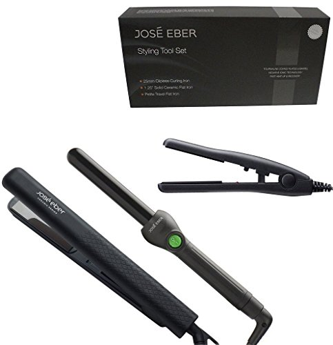 Jose Eber Gift Set 1 25  Solid Ceramic Black Flat Straightener Iron  25Mm Black Curling Iron  Black Travel Sized Petite Hair Straightener Gift Set  Dual Voltage 110V 220V