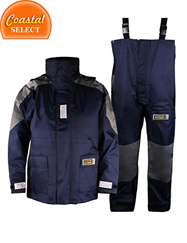 Men's sailing Rain suit,Sailing /Fishing/Surfing Foul Weather Gear Jacket with Bibs trousers,Blue (M)