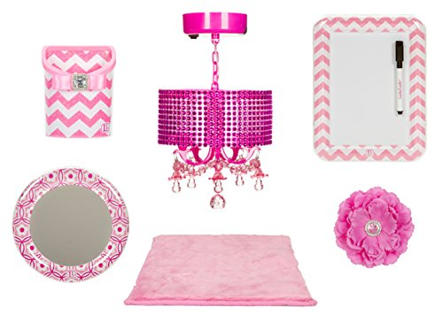 LockerLookz Locker Organizer Bundle, Pink Chevron Design, Chandelier, Dry Erase Board, Bin, Mirror, Rug, Magnetic Flower, 6 Pieces Set