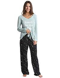 womens pajama pant set long sleeve sleep shirt pj lounge bottoms - Juniors Christmas Pajamas