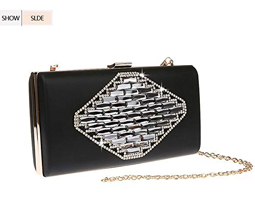 for 21 Bag Leather PU with Black and Metallic Women 12cm Ladies Bag Handbag EDLUX Shape Rhinestone Shoulder 3 Buckle Evening Black ZwAx8