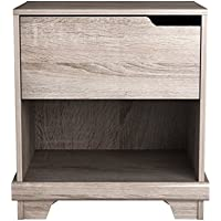 Homestar EB109183SN Waterloo 1 Drawer Nightstand, 15.91 x 20.98 x 22.52, Sonoma