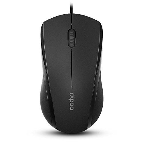 Rapoo 3-Button Silent Wired Mouse, 1000DPI Optical Mouse, Quiet Button, Ergonomic Shape, for Desktop Computers Laptops, Matte Black