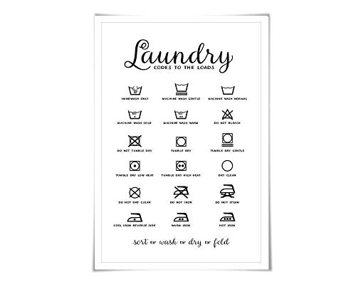 Dirty Laundry Print - Laundry Symbols Laundry Room Art Poster. 60 Colours/4 Sizes. Laundry Procedures Rules Sign