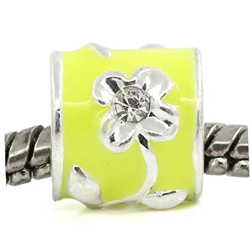 Flower Bright Yellow Enamel Rhinestone Spacer Charm for European Slide Bracelets Crafting Key Chain Bracelet Necklace Jewelry Accessories Pendants