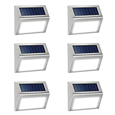 JSOT Solar Deck Lights Bright 3 LED Stair Lights Auto On/Off Waterproof Stainless Steel Step Lights Outdoor Solar Lamp for Patio Walkway Garden Fences Pathway Wall Paths