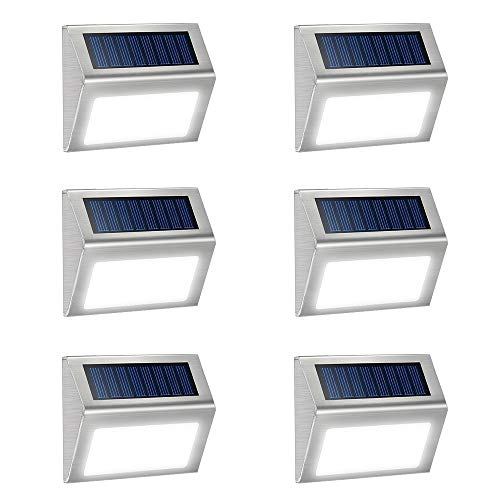 - JSOT 6 Pack Solar Deck Lights Bright 3 LED Stair Lights Auto On/Off Waterproof Stainless Steel Step Lights Outdoor Solar Lamp for Patio Walkway Garden Fences Pathway Wall Paths (White Light)