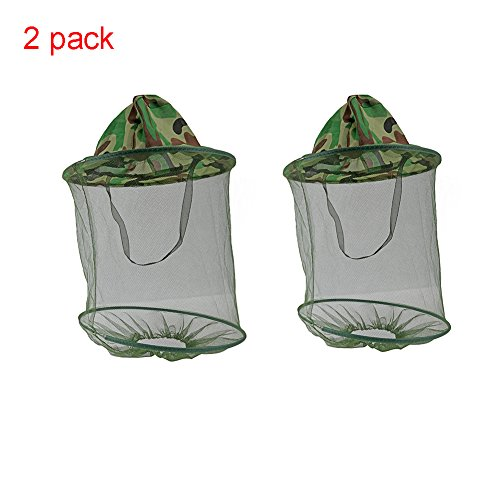 DmsBanga 2 Pcs Anti-Mosquito Head Mesh Net Hat Camouflage Beekeeper Sun Protection Keeps Away Insects Flies Mask Cap Camo Face Neck Bug Hat Fishing Equipment Outdoor.