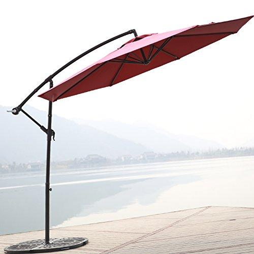 C-Hopetree 10 Foot Offset Cantilever Patio Umbrella, Outdoor Hanging Umbrella with Cross Base, 250gsm Polyester Canopy, Red