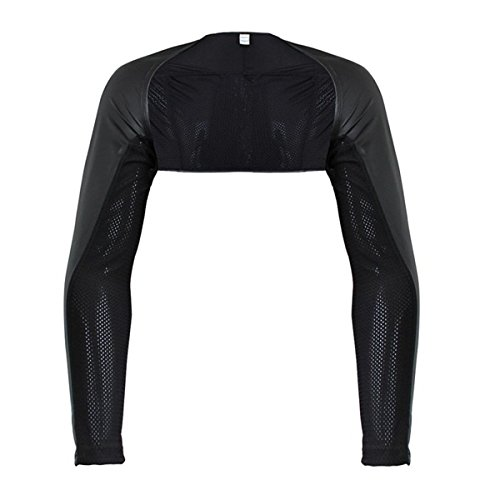 Mens Faux Leather&mesh Hollow Arm Long Sleeve Shrug T-shirt (Arms Black T-shirt)