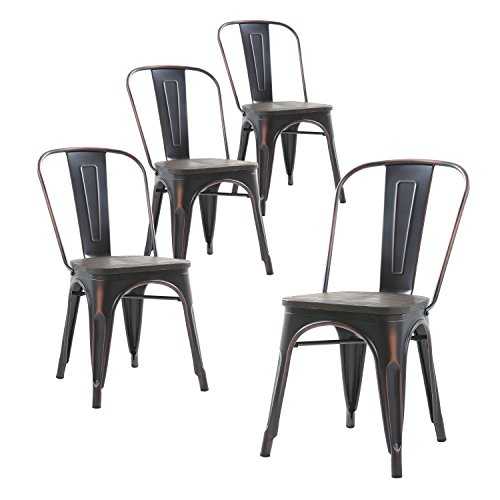 Buschman Set of Four Distressed Black Wooden Seat Tolix-Style Metal Indoor/Outdoor Stackable Chairs with Back - Distressed Dining Room Furniture