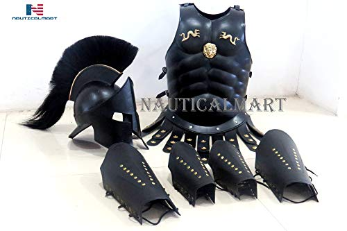 NauticalMart 300 Spartan Helmet Maximus Muscle Armor & 300 Helmet & Leather Leg & ARM Guard -