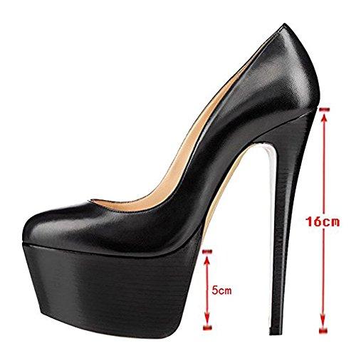Highpumps Mujeres Sandalias De Plataforma De Tacón Alto Bombas Cerradas Hechas A Mano Para El Vestido De Fiesta De Bodas Zapatos De Tacón De Aguja Negro Pu