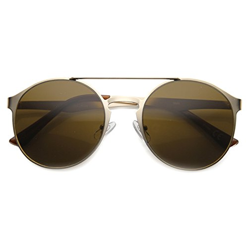 zeroUV - High Fashion Luxe Crossbar Full Metal Keyhole Round Sunglasses 59mm (Gold / - Sunglasses Keyhole Men