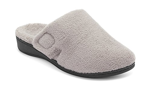 Vionic Women's Indulge Gemma Slipper - Ladies Adjustable Slippers with Concealed Orthotic Support Light Grey 9 Medium US