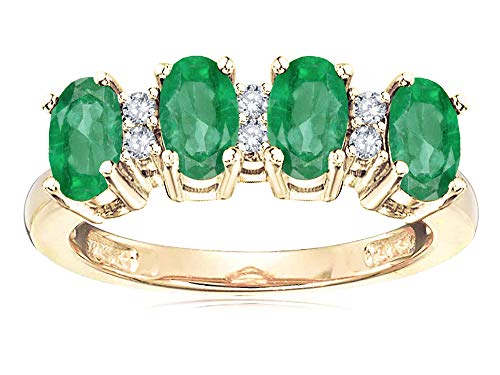 Genuine Stone Ring Emerald 3 (Star K Oval 5x3 Genuine Emerald 4 Four Stone Band Ring 14 kt Yellow Gold Size 7)