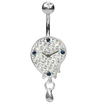 e3eea2cb5 Crystal Evolution Belly Bar with White Image Teardrop Clock in Silver,  Swarovski and Surgical Titanium Bananabell: Amazon.co.uk: Sports & Outdoors