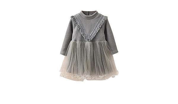Vestido para bebé niña, Yannerr recien nacido punto Engrosamiento hilado malla costura fiesta princesa falda invierno primavera manga larga top caliente ...