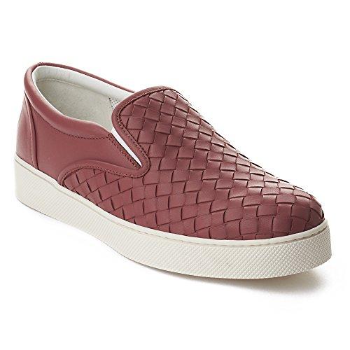 Bottega Veneta Women's Intrecciato Leather Skate Slip-on Sneakers Shoes Pink