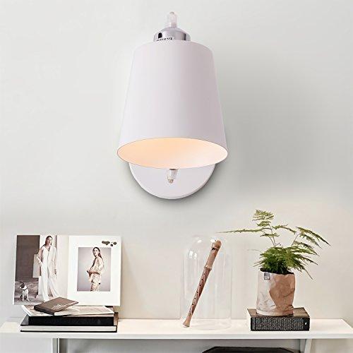 Modern Bedside Wall Lamp, White Simple Indoor Lighting Hanging Wall Lamp with Flexible Swing Arm for Bedroom, Corridor Office, Restaurant, Studio, Living Room