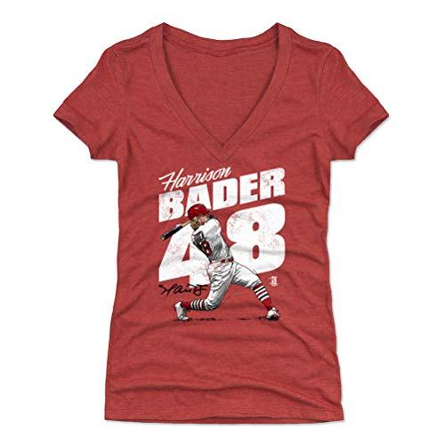 500 LEVEL Harrison Bader Women's V-Neck Shirt (Large, Tri Red) - St. Louis Baseball Shirt for Women - Harrison Bader Home Run W - Home Baseball Run 500