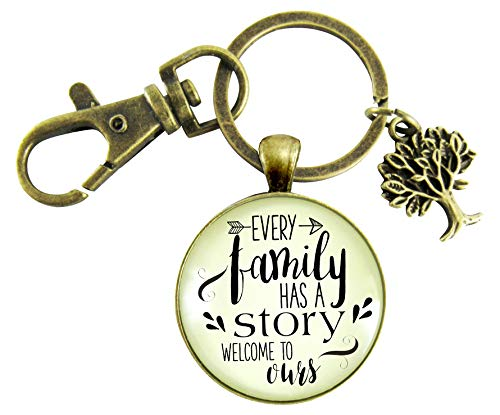 Every Family Has A Story Welcome Keychain Gift For Son In Law Step Bonus Child Adoption Vintage Inspired Key Ring ()