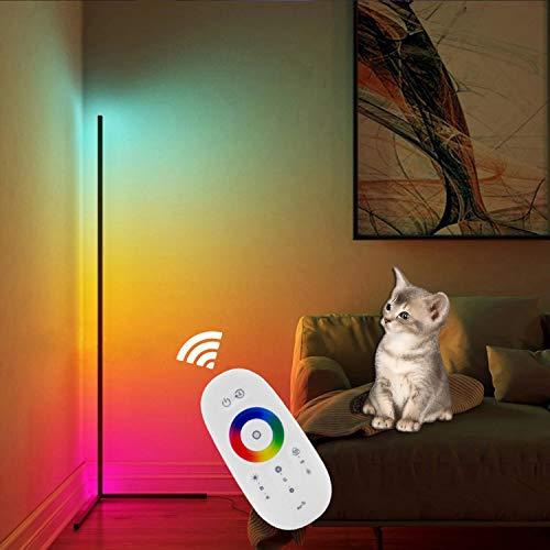 QJUZO RGB vloerlamp dimbaar met afstandsbediening moderne hoeklamp LED vloerlamp voor woonkamer slaapkamer hoek…