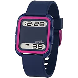 ZERONE Bsquared 2 Ultra Slim Blue & Pink Aluminum Bezel Digital Watch