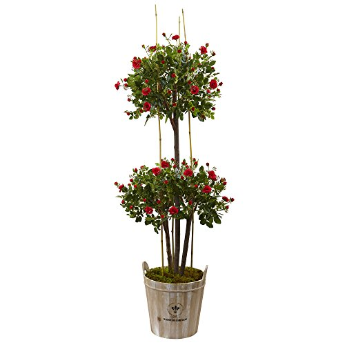 Nearly Natural 5.5' Rose Topiary Artificial Tree, Green
